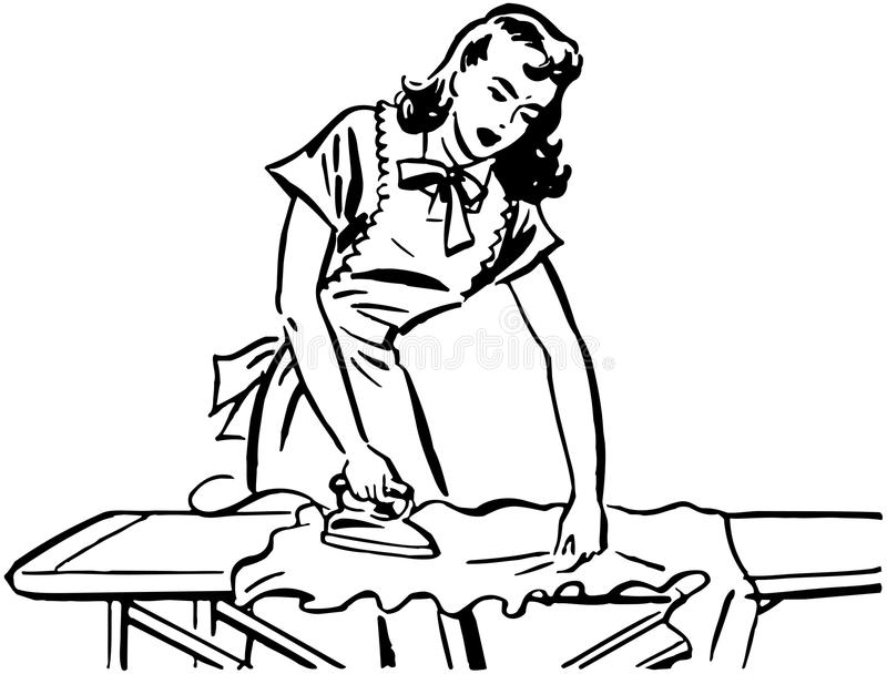 Woman Ironing royalty free illustration