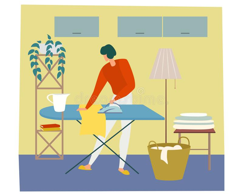 Woman is ironing cloth and having work about the house. vector illustration