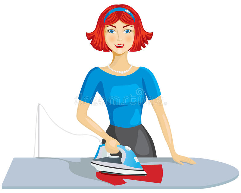 Woman ironing clothes royalty free illustration