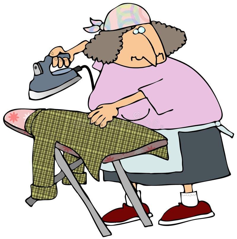 Woman Ironing A Shirt vector illustration