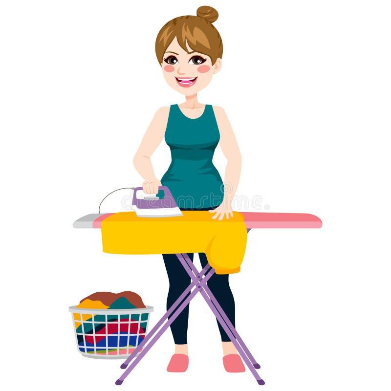 Woman Ironing Shirt vector illustration