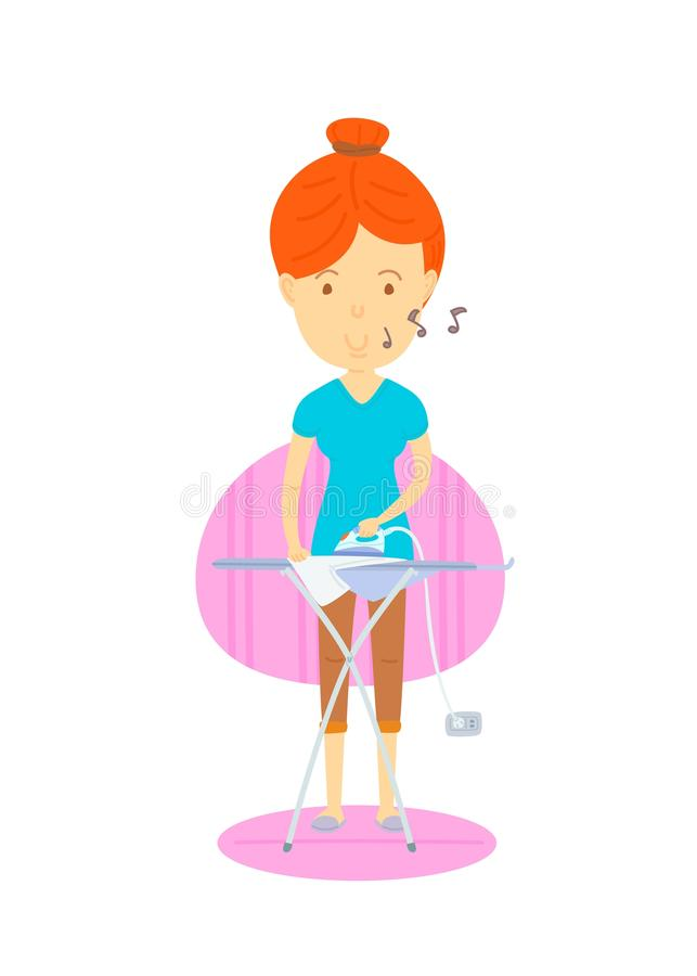 Woman are ironing. Mother are ironing, Housewife, The front of , Happy woman, cute vector cartooning style, colorful illustration, Woman are humming,Daily stock illustration