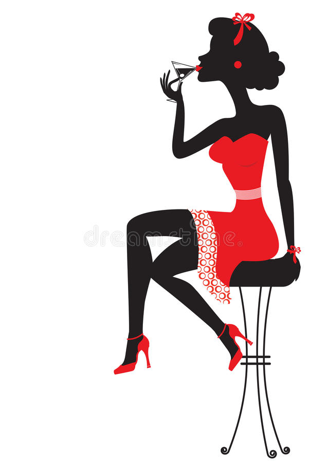 Free Woman Is Sitting And Drinking Martini In Red Dress Royalty Free Stock Images - 23129329