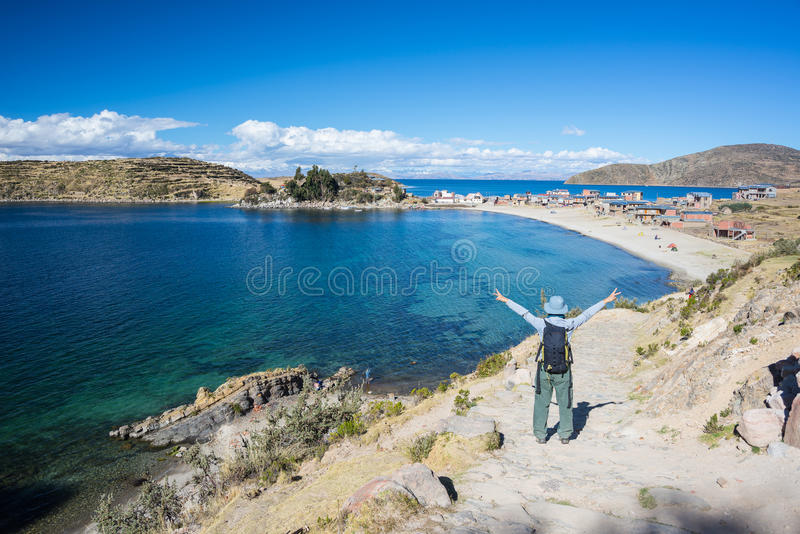 Woman on Island of the Sun, Titicaca Lake, Bolivia royalty free stock photo