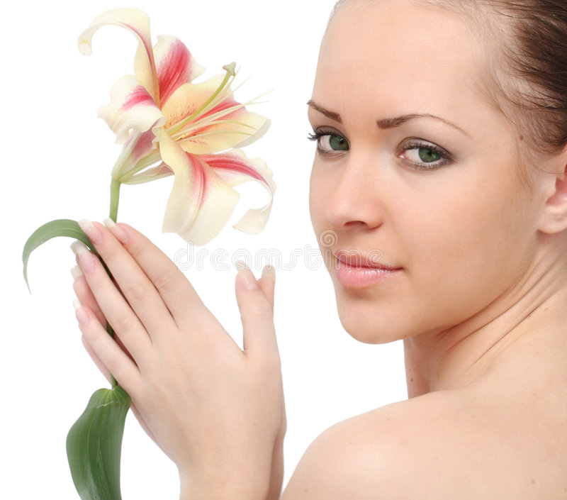Woman isolated with lily flower royalty free stock photo