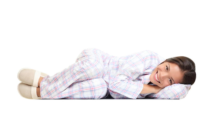 Woman isolated in pajamas royalty free stock images