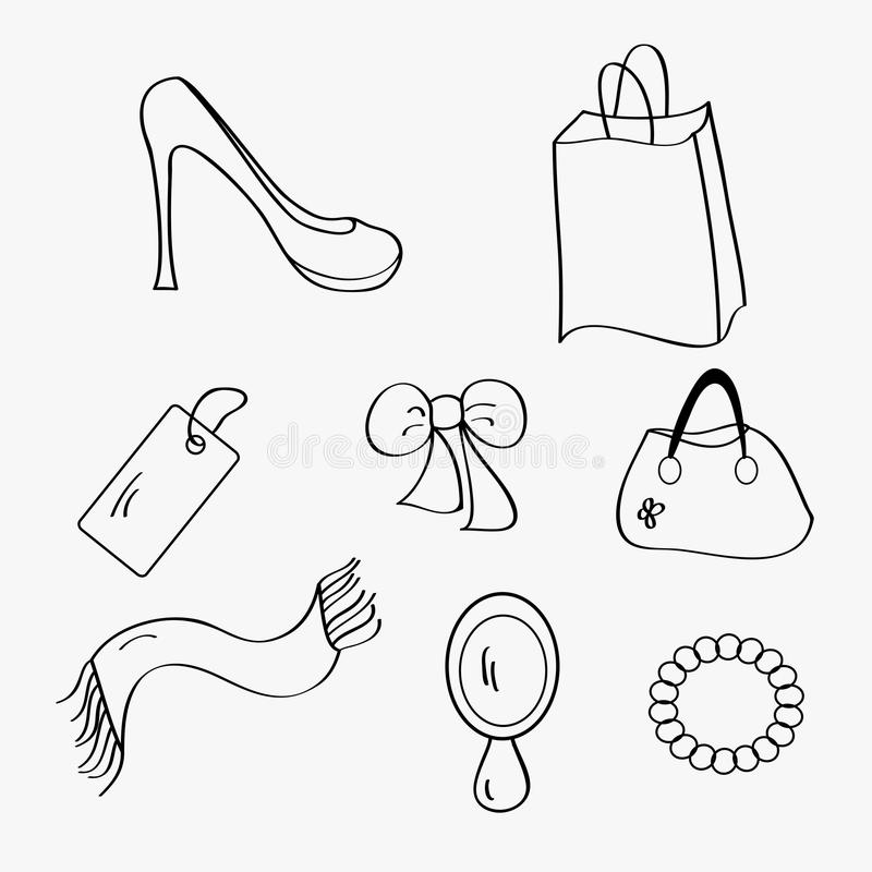 Download Woman items collection stock vector. Image of woman, black - 23853311