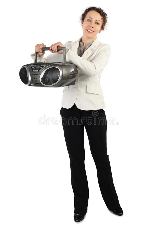 Download Woman In Jacket Holding Tape Recorder And Smiling Stock Photography - Image: 15656952
