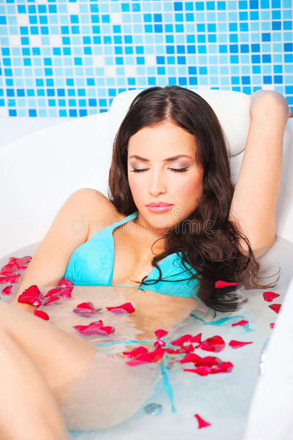 Download Woman in jacuzzi stock image. Image of resting, pampering - 27571569