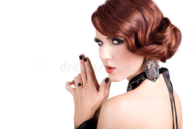 Woman James Bond. Red hair retro style woman holding fingers like a gun
