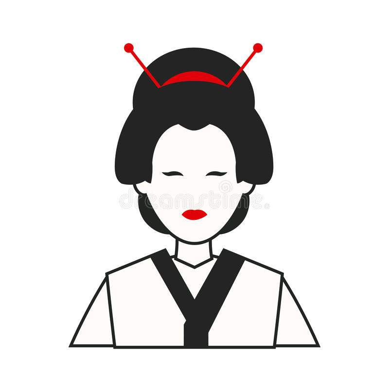 Woman japan costume traditional royalty free illustration
