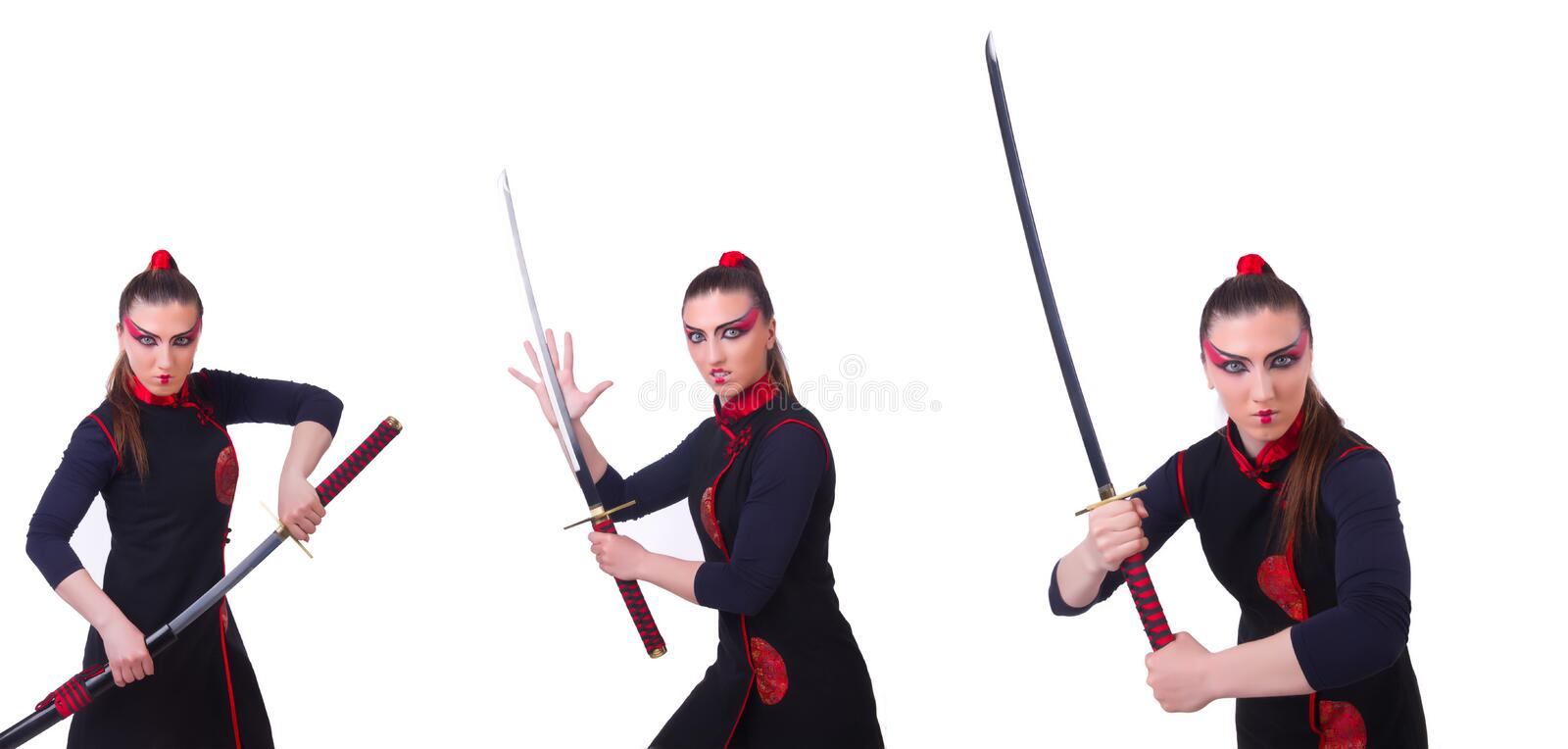 Woman in japanese martial art concept. The woman in japanese martial art concept royalty free stock images