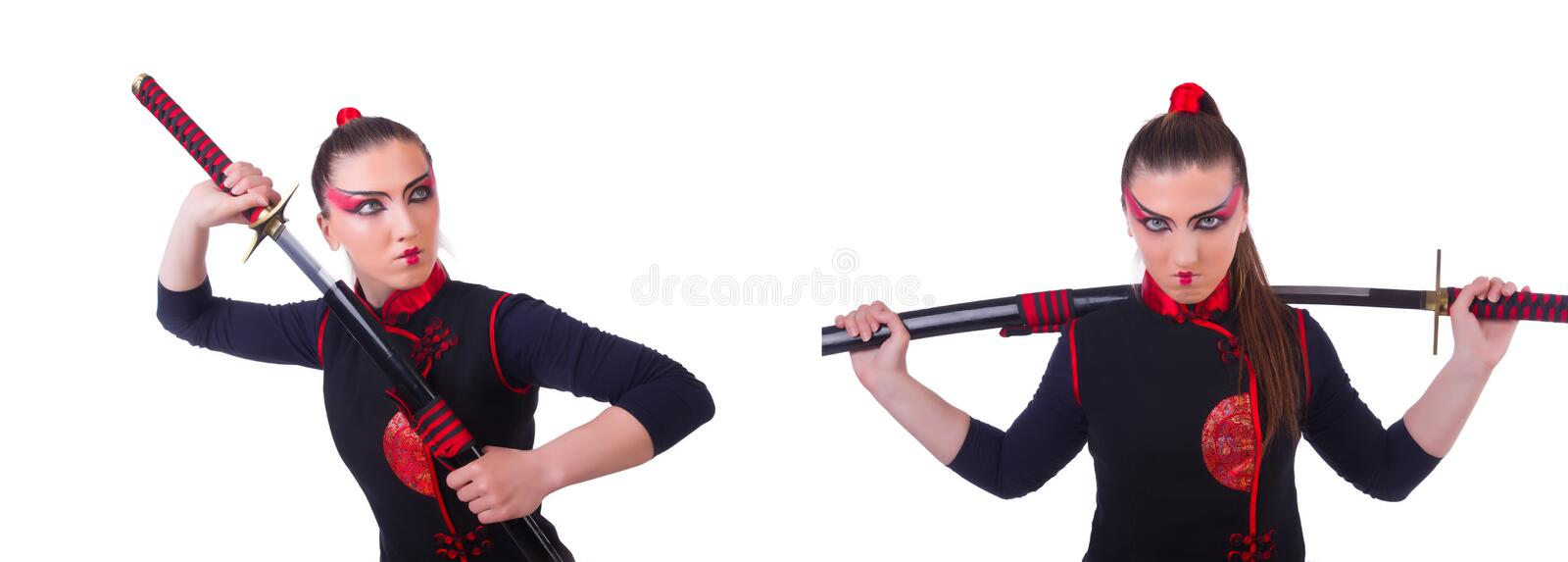 Woman in japanese martial art concept. The woman in japanese martial art concept stock photo