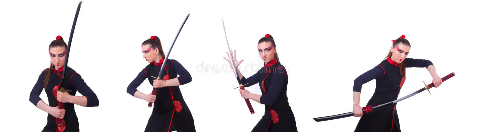 Woman in japanese martial art concept. The woman in japanese martial art concept stock image