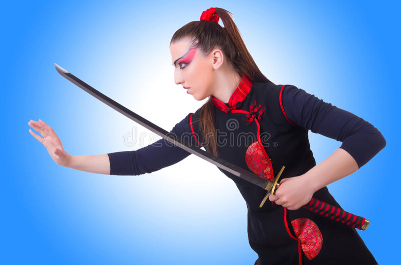 Woman in japanese martial. Art concept stock images