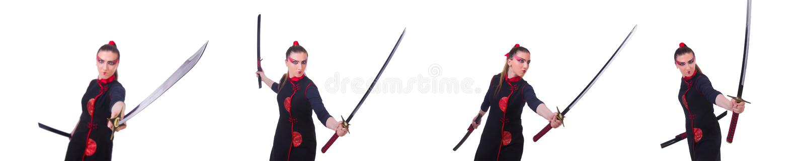 Woman in japanese martial art concept. The woman in japanese martial art concept stock photography