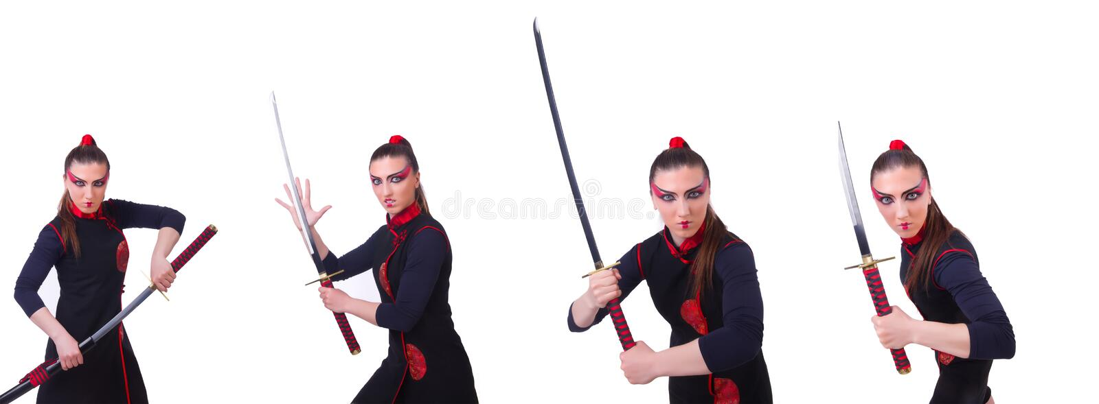 Woman in japanese martial art concept. The woman in japanese martial art concept royalty free stock photo