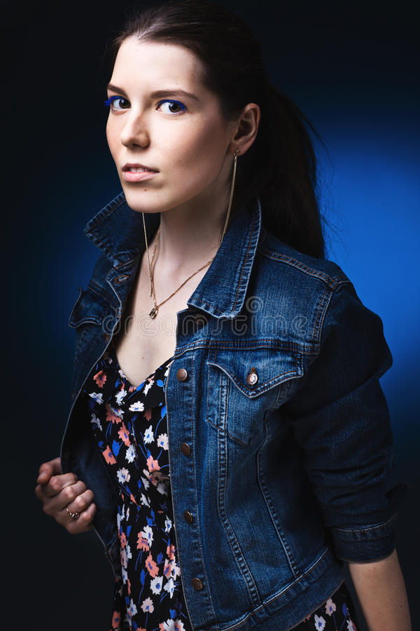 Woman In Jeans Gown Stock Image