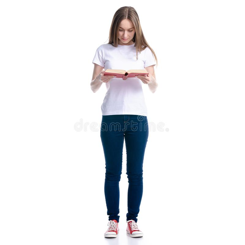 Woman in jeans read book royalty free stock image