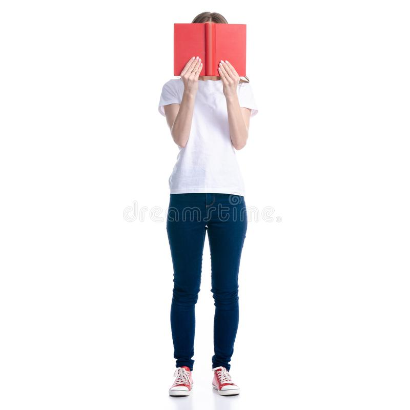 Woman in jeans read book stock photos