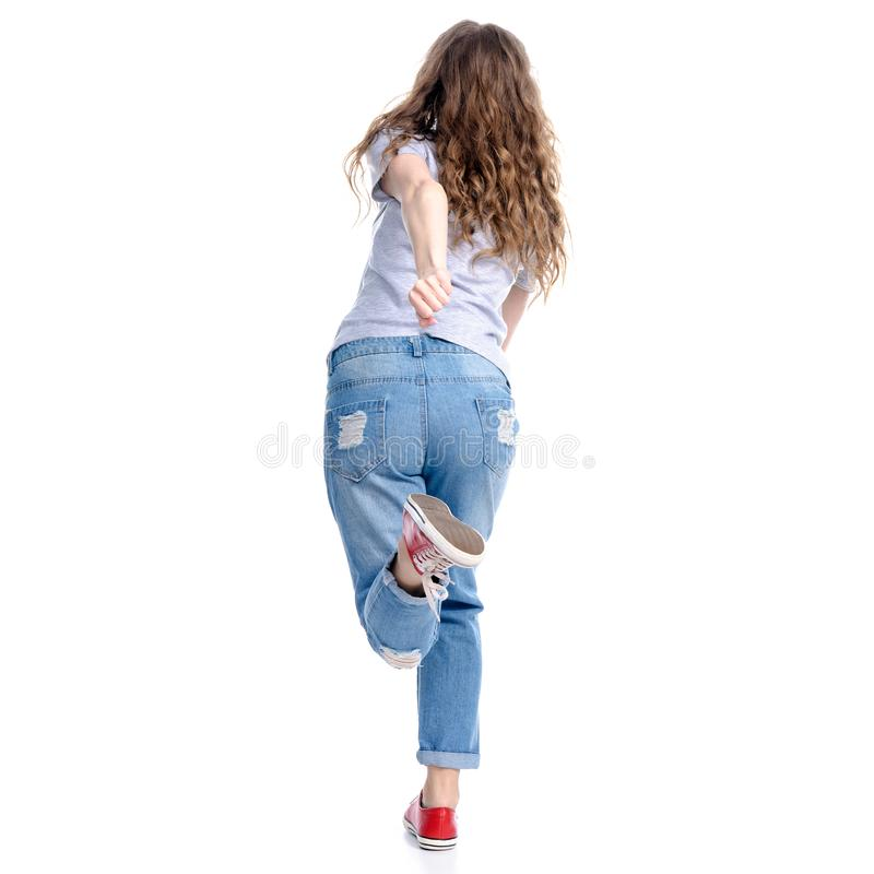 Woman in jeans run royalty free stock photos