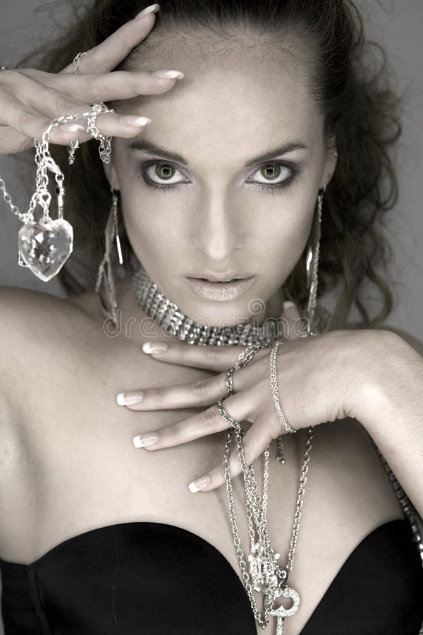 Woman and jewellery royalty free stock images