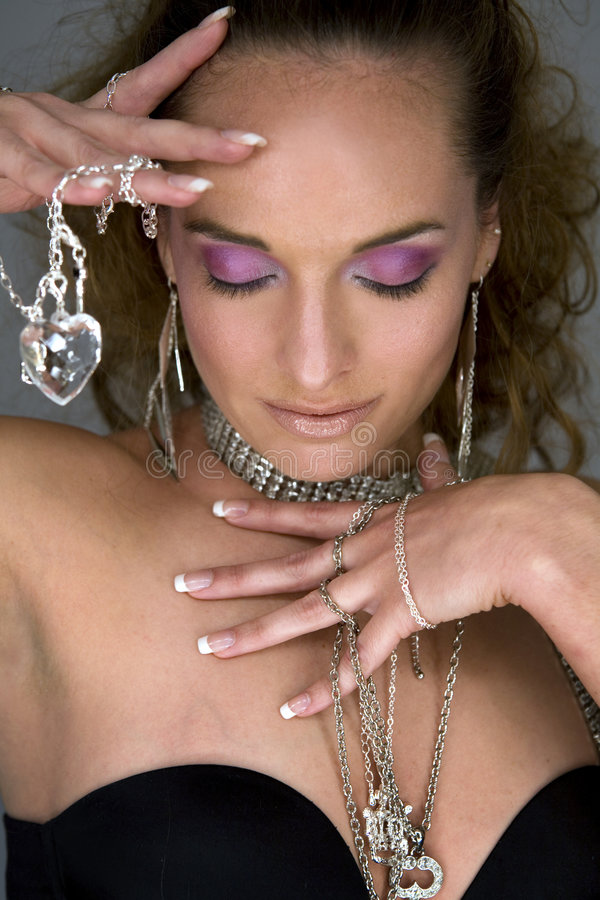 Woman and jewellery royalty free stock photos