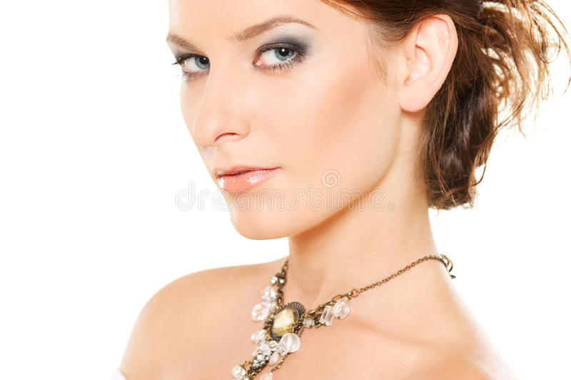 Woman with jewellery on her neck stock photos
