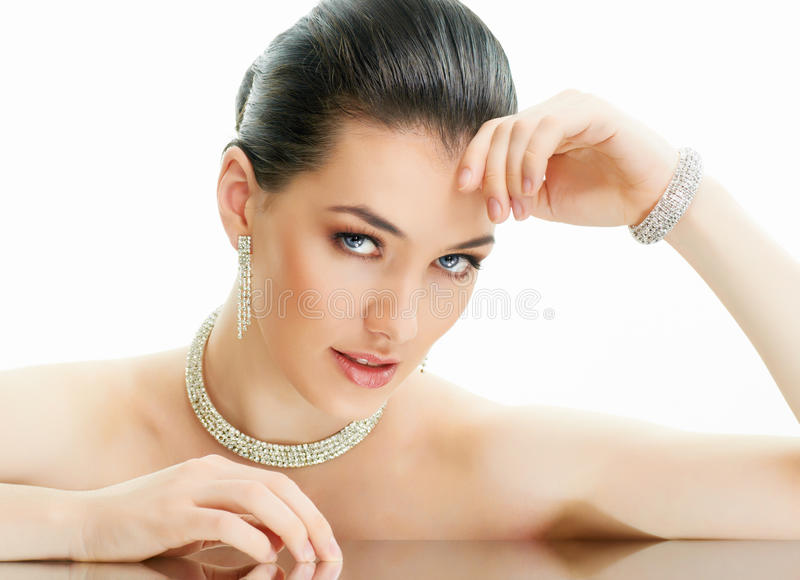 Woman with jewelry stock photography