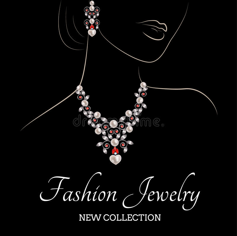 Woman and jewelry. Drawing of a woman with pearls with ruby necklace and earrings vector illustration