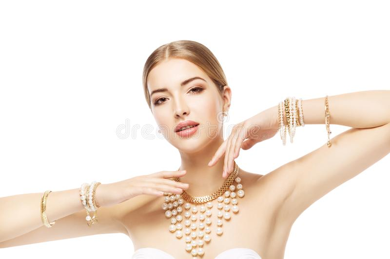 Woman Jewelry, Gold Pearl Jewellery Bracelet and Necklace, Fashion Beauty Portrait stock photos