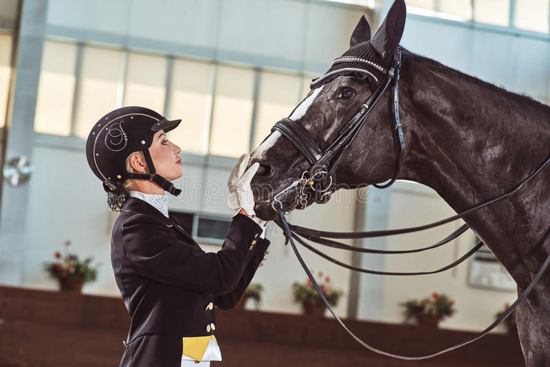 Woman jockey with his horse. In uniform for Dressage. close up royalty free stock photography