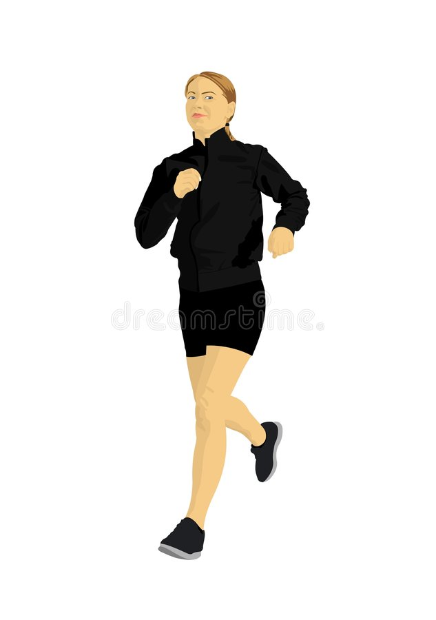 Woman jogging stock illustration