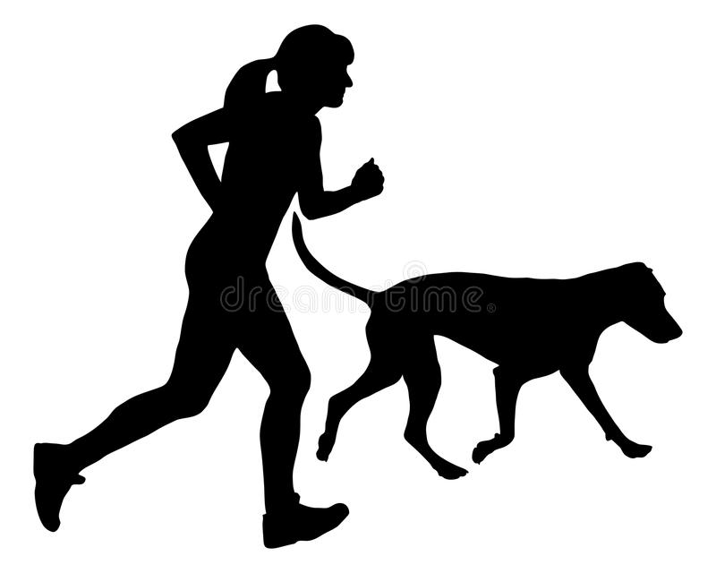Woman Jogs With Dog Royalty Free Stock Images