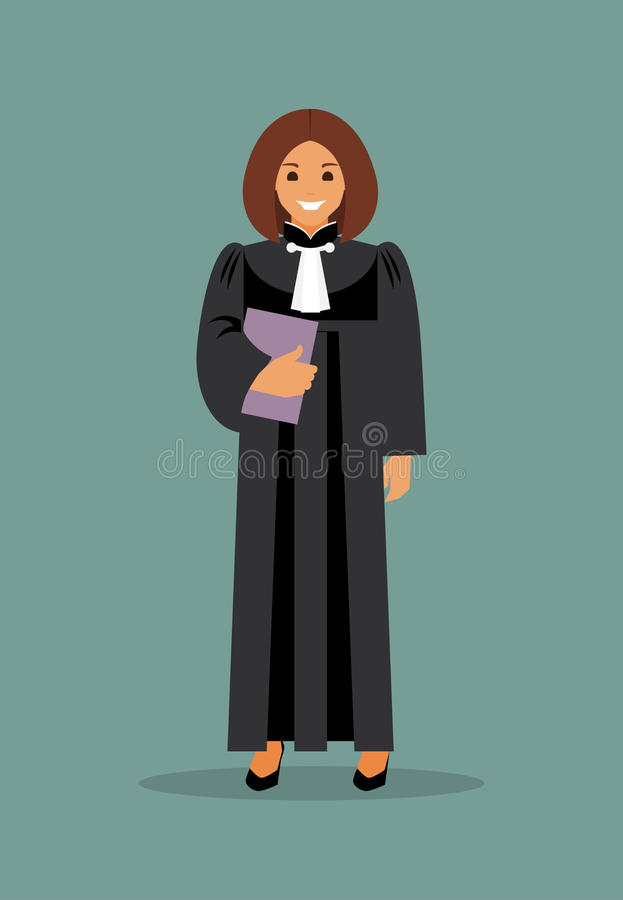 Woman judge. With the case in hand. The law and justice. Vector illustration stock illustration