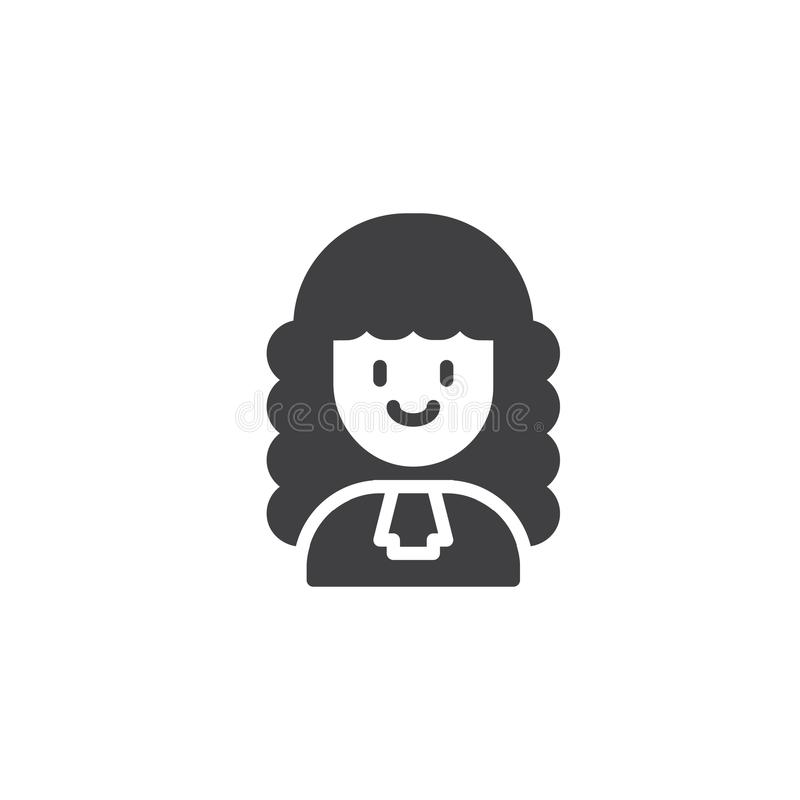 Woman judge vector icon. Filled flat sign for mobile concept and web design. Female lawyer simple solid icon. Symbol, logo illustration. Pixel perfect vector vector illustration