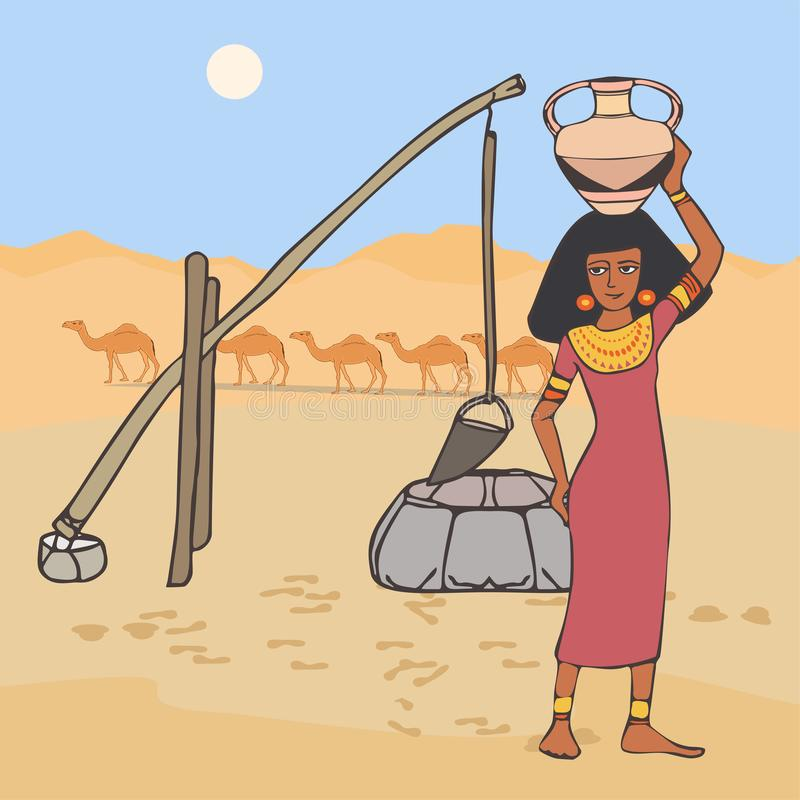Woman with jug on the head near the well at desert landscape vector illustration