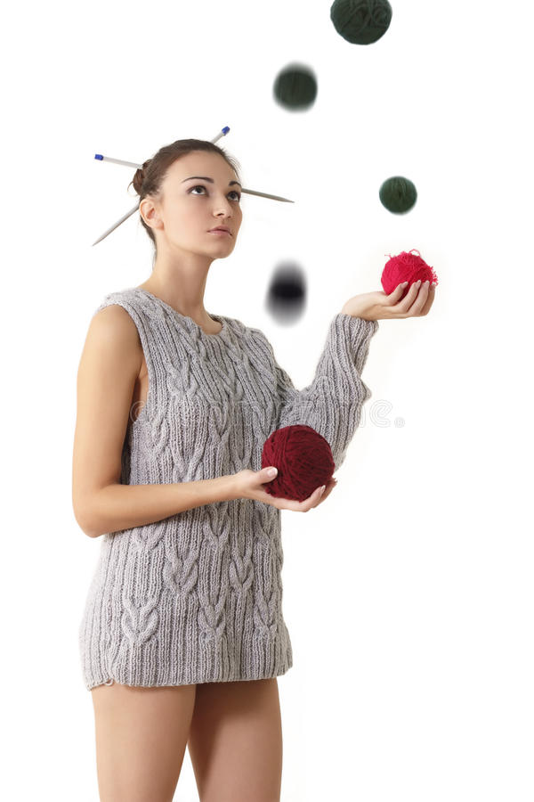 Download Woman juggle clew with stock image. Image of concept - 18672015