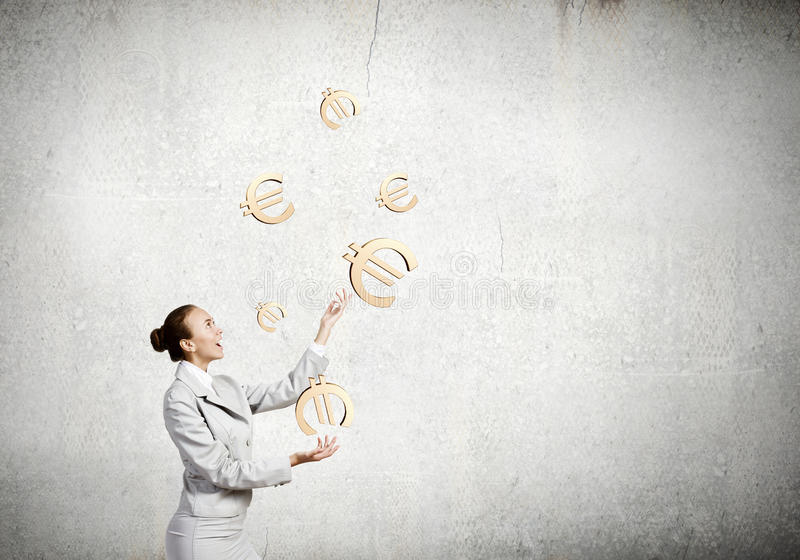 Woman juggler stock photography