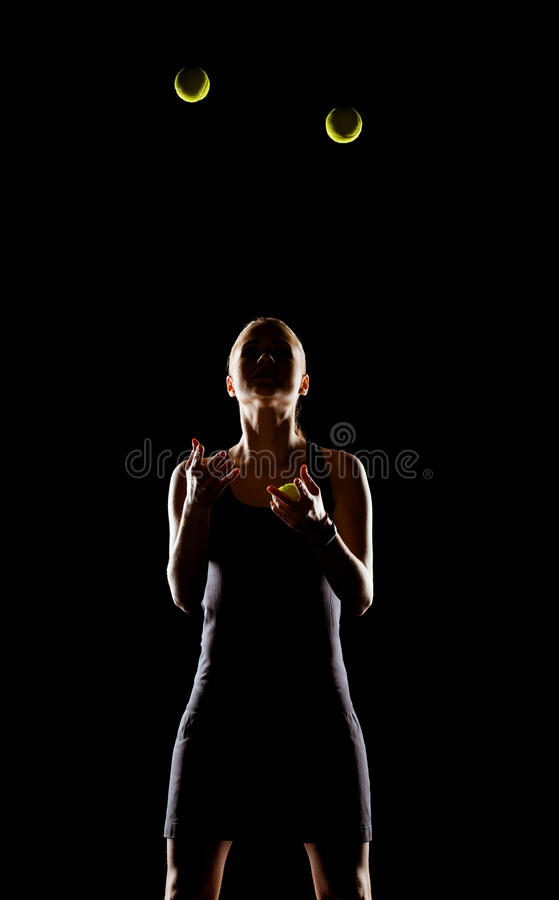Free Woman Juggling With Tennis Balls Stock Image - 90493631