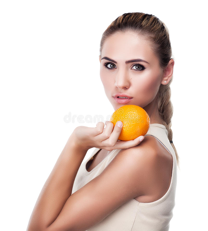 Woman with juice on white background. Concept vegetarian dietin royalty free stock photo