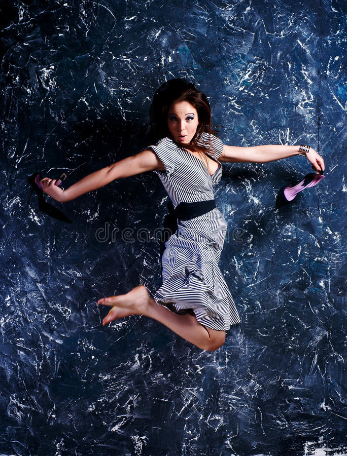 Download Woman in a jump stock image. Image of body, jump, smile - 11327471