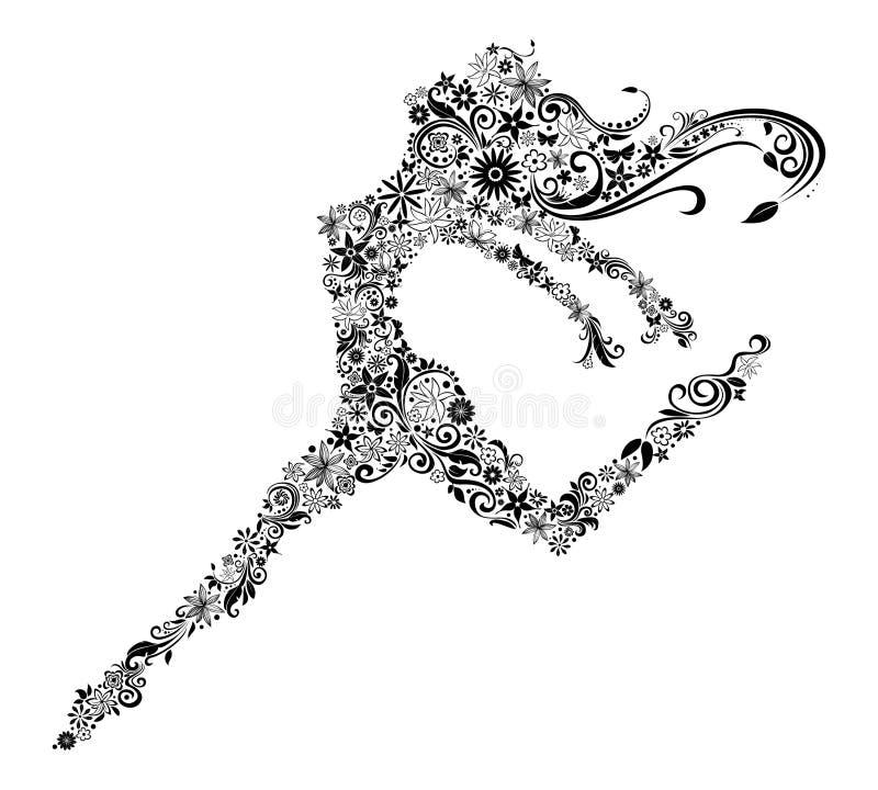Woman in jump vector illustration