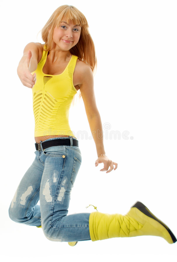 Download Woman jump stock image. Image of jeans, beauty, tshirt - 4673701
