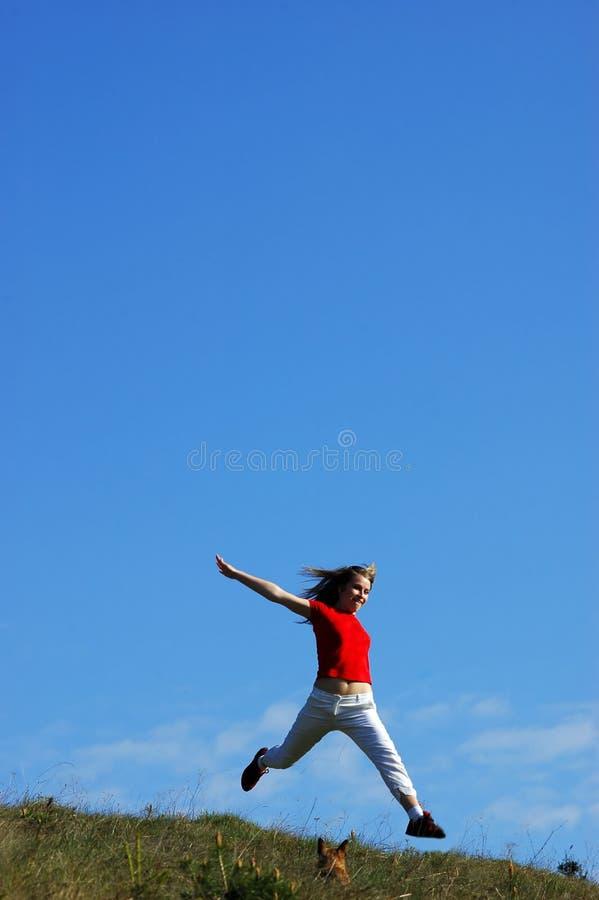 Woman jump royalty free stock photos