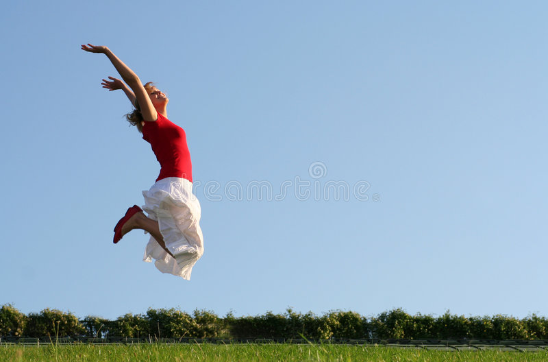 Download Woman jumping stock photo. Image of outdoor, leaping, playful - 3299144