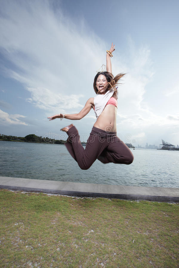Download Woman jumping for joy stock image. Image of woman, pretty - 15165009