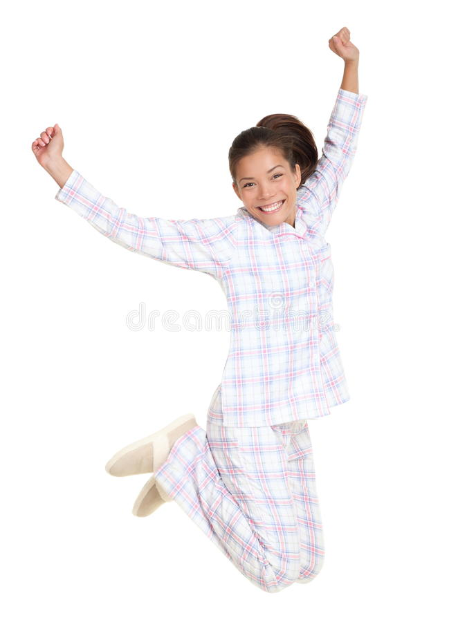 Woman jumping morning fresh in pajamas royalty free stock photos