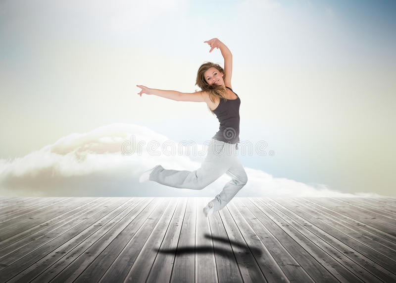 Download Woman Jumping Over Wooden Boards Stock Illustration - Image: 31667079