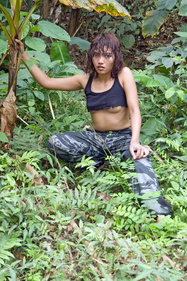 Download Woman in jungle stock image. Image of asia, breast, hidden - 25186585